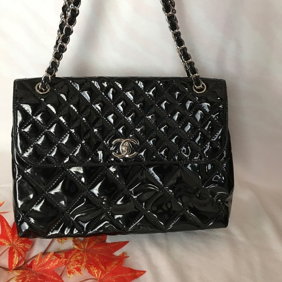 c5cbfb32e3 CHANEL Handbags - CHANEL Quilted Patent Leather Jumbo Bag